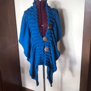 Blue Knit Shawl Wrap Augustina's Leather